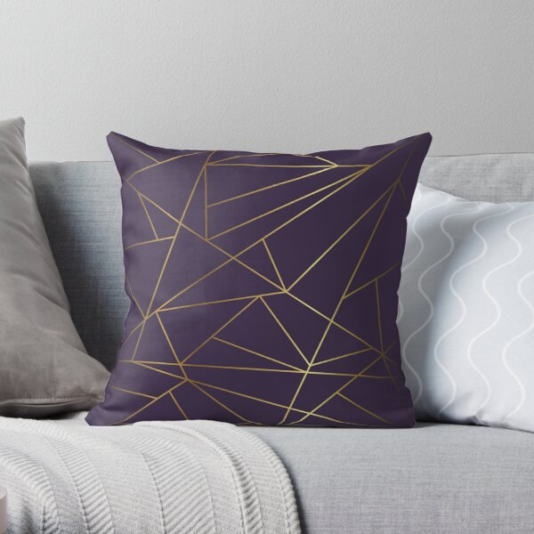 Purple Ombre & Gold Geometric Throw Pillow