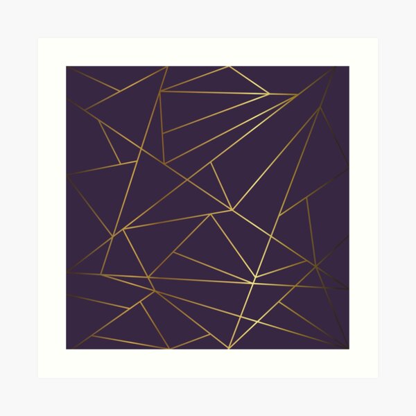Purple Ombre & Gold Geometric Art Print