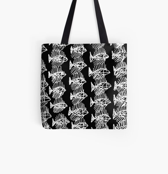 White and Black Abstract Fish All Over Print Tote Bag