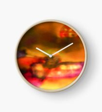 Row Boat in Yellow, Pink and Purple Clock
