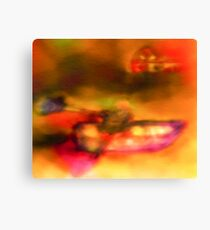 Row Boat in Yellow, Pink and Purple Canvas Print