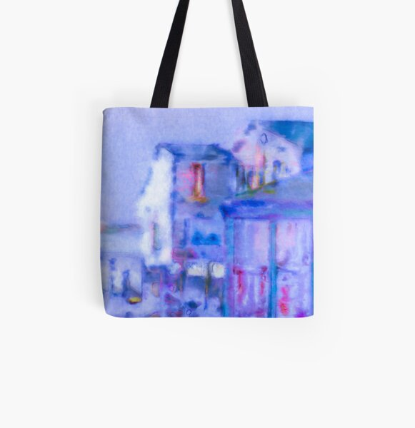 Blue Abstract Whale Art All Over Print Tote Bag