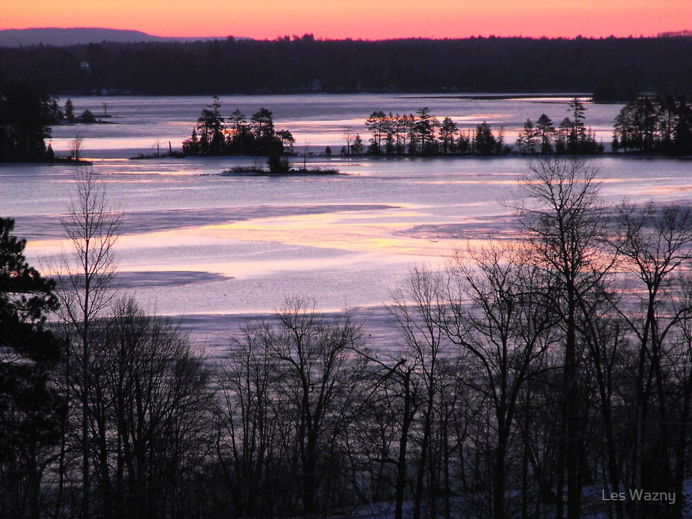 Sunrise Over The Ottawa River- Late Winter 2009 by Les Wazny