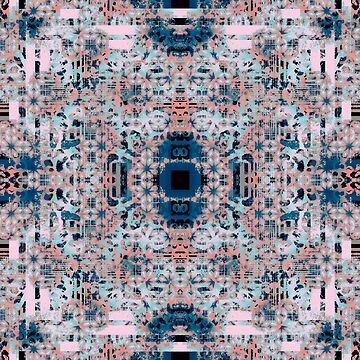 Pink and Blue Abstract Geometric Tile by jocelynsart