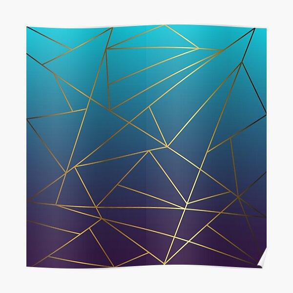 Teal, Mauve and Gold Metallic Geometric Design Poster
