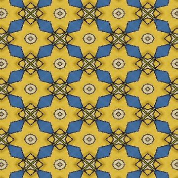 Yellow Blue Abstract Spinner Geometric Art Print by EbethS
