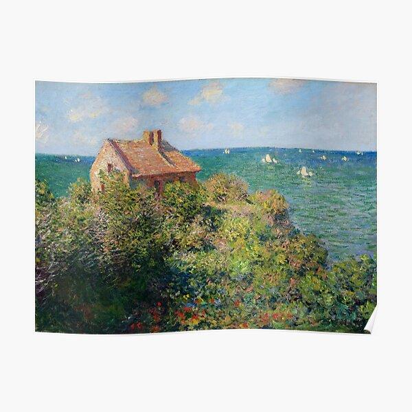Fishermans Cottage en los acantilados en Varengeville Claude Monet Póster