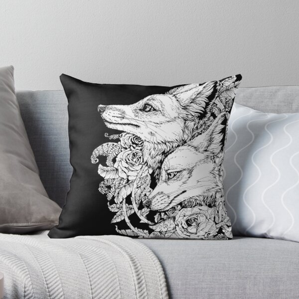 Fox Bloom - Black and White Throw Pillow