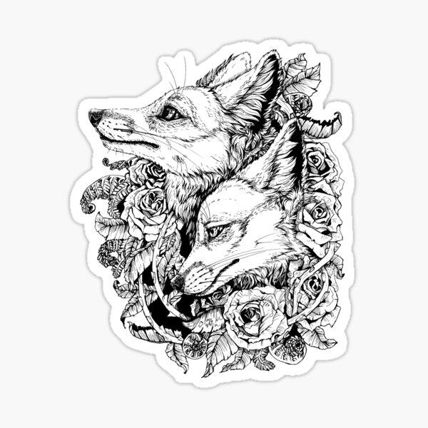 Fox Bloom - Black and White Sticker