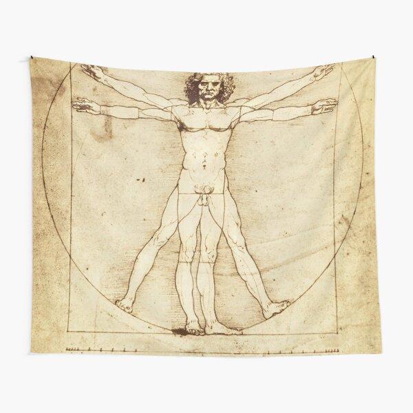 Vitruvian Man Drawing by Leonardo da Vinci Tapestry