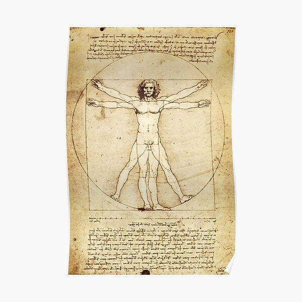 Vitruvian Man Drawing by Leonardo da Vinci Poster