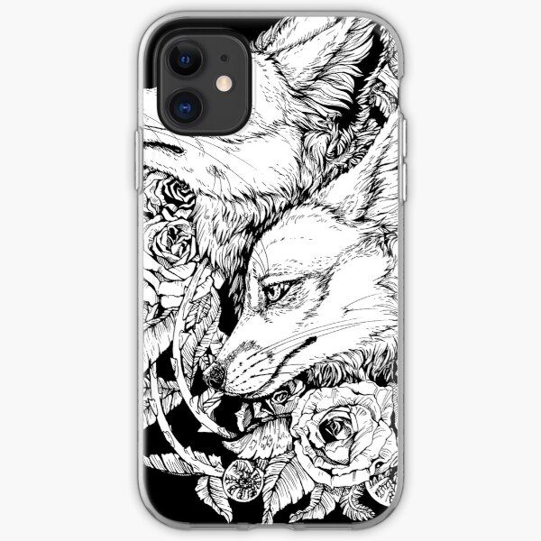 Fox Bloom - Black and White iPhone Soft Case