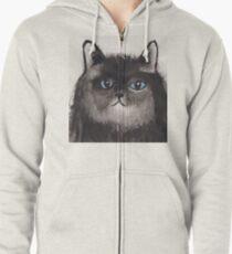 Serious cat Zipped Hoodie