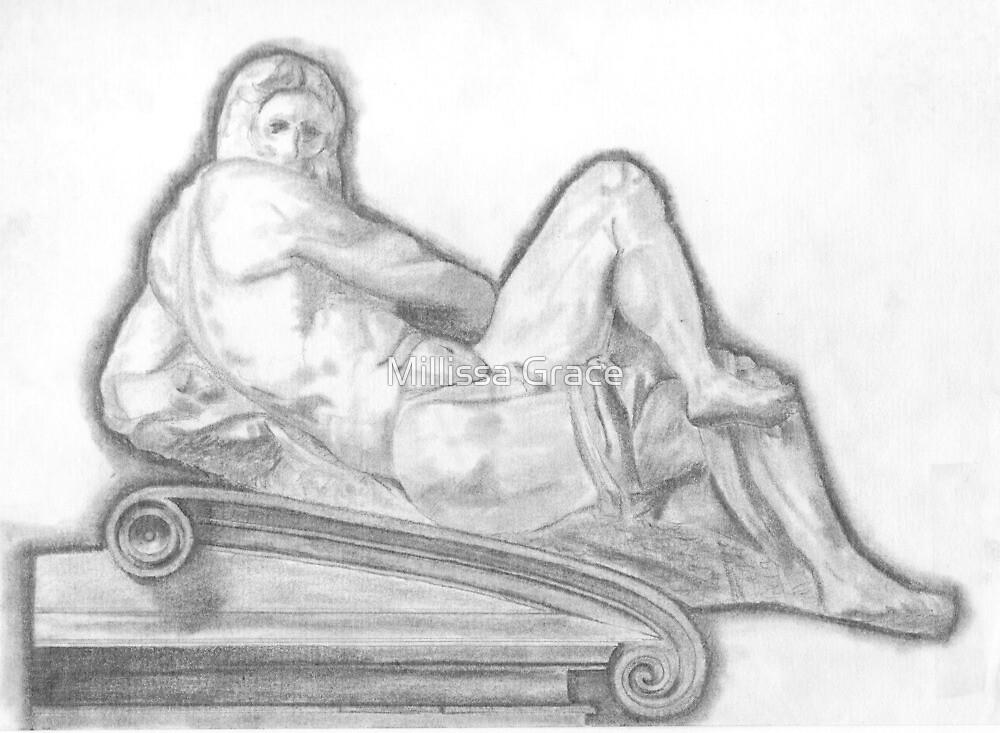 Sketch of Michelangelo's 'Day' Sculpture by Millissa Grace
