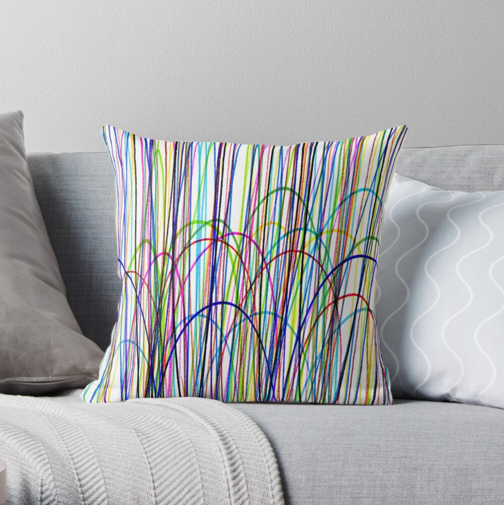 EXCLUSIVE TO OZCUSHIONS-SCRIBBLE- MULTICOLOR- CHILDRENS HOME DECOR -GREEN -BLUE- RED-YELLOW-PINK-PURPLE-BLUE Throw Pillow