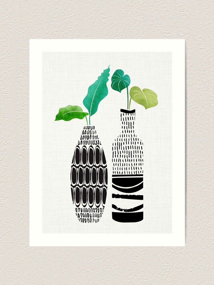 Alternate view of Tribal Vases II with Tropical Greenery Art Print