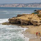 La Jolla Cove is a small, picturesque cove and beach that is surrounded by cliffs in La Jolla, San Diego, California, USA by PhotoStock-Isra