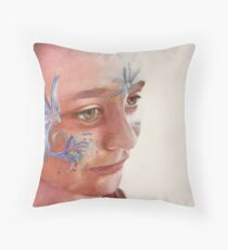 Face Painting, watercolor on paper Throw Pillow
