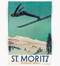 Weinlese-Reise-Plakat die Schweiz - Sankt Moritz Poster