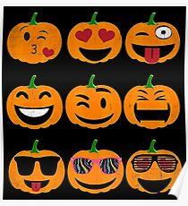 Emoji Pumpkin Halloween Poster