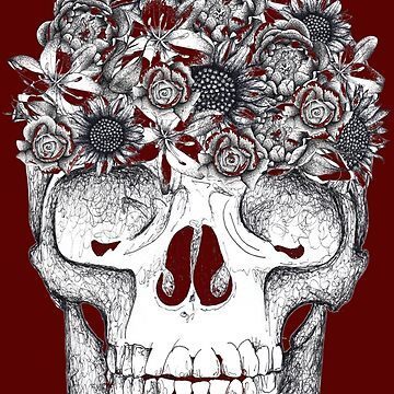 Skull and flowers by Surrealist1