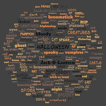 Halloween Spooky Word Cloud - Orange and Black by gphotobox