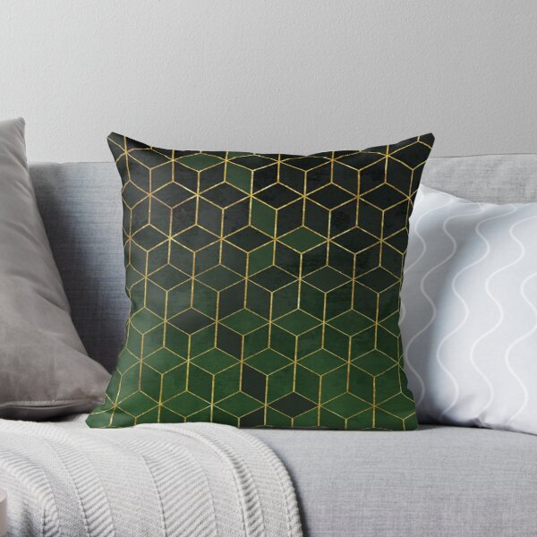 Green and Black Gradient Cubes Throw Pillow