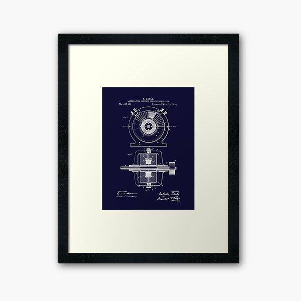 Nikola Tesla AC Electric Generator Patent 1891  Framed Art Print