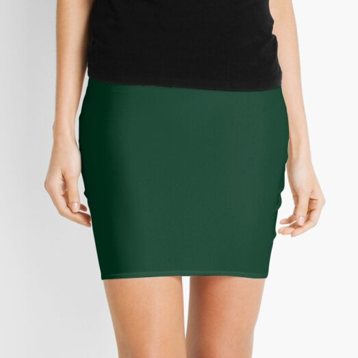 PLAIN SOLID COLOR DARK GREEN -  FESTIVE CHRISTMAS COLORS ACCENTS AND HUES  Mini Skirt