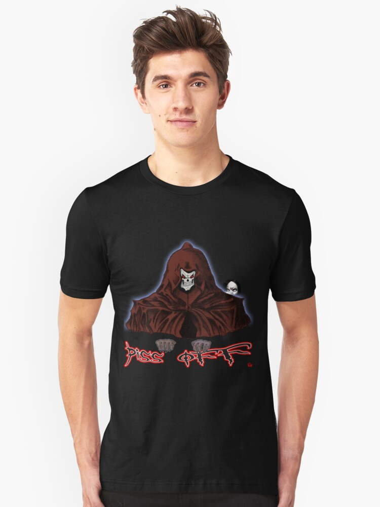 GRIM REAPER AND SIDE KICK/ PISS OFF Unisex T-Shirt Front
