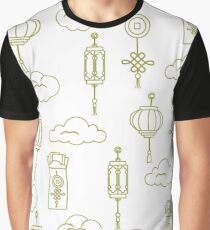Chinese lanterns, money envelopes, coin, clouds. Graphic T-Shirt
