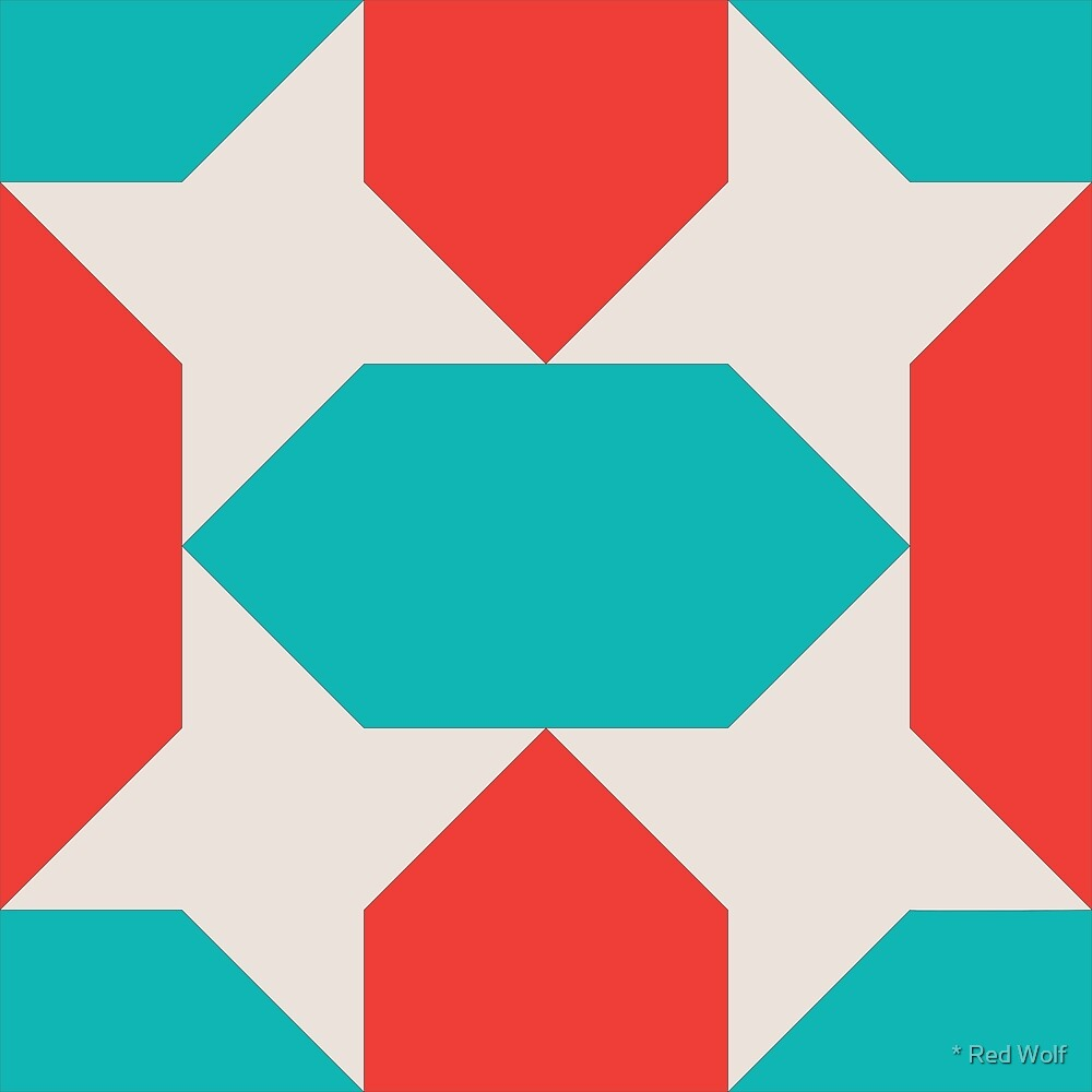 Geometric Pattern: Star Lozenge: Blue/Red by * Red Wolf