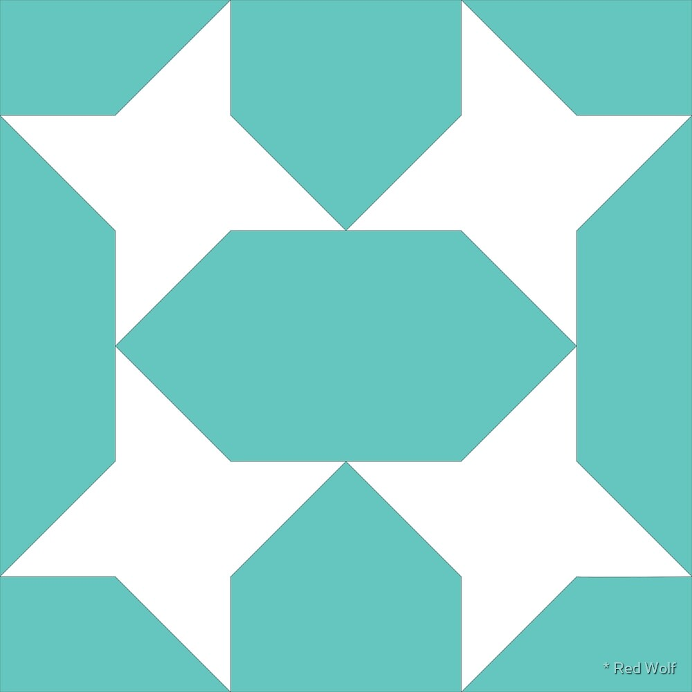 Geometric Pattern: Star Lozenge: Blue by * Red Wolf