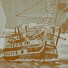 A digital painting of my acrylic painting of HMS Victory 1805 (2) - includes video by Dennis Melling