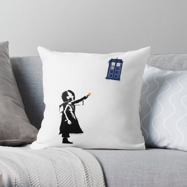 Girl with Blue Box Throw Pillow