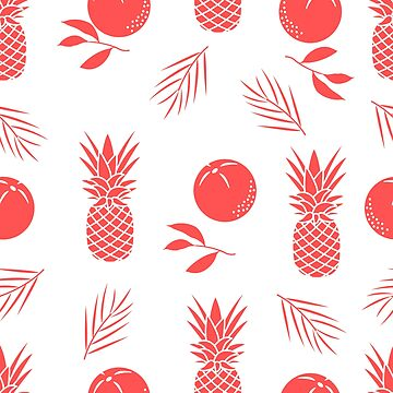 Seamless pattern with pineapples, orange, leaves. by aquamarine-p