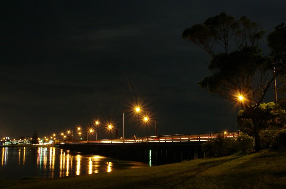 Windang Bridge - Night Lights by Stephen Jarrett