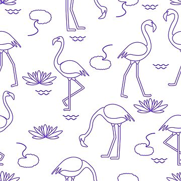 Seamless pattern with flamingo and water lily. by aquamarine-p