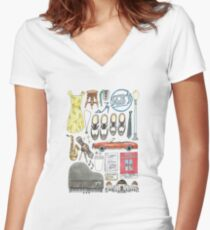Camiseta entallada de cuello en V La La Land Illustration Jazz Saxophone Music Musical