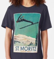 Vintage Travel Poster Switzerland - Saint Moritz  Slim Fit T-Shirt