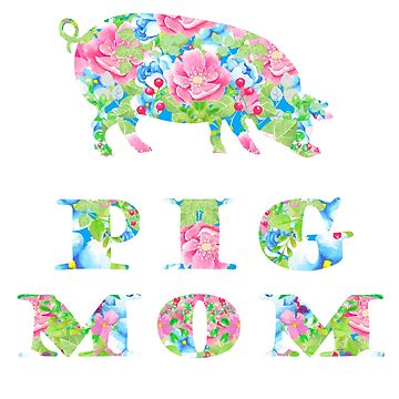 Pig Mom Floral Pigs Silhouette Pink Blue Flowers by LarkDesigns