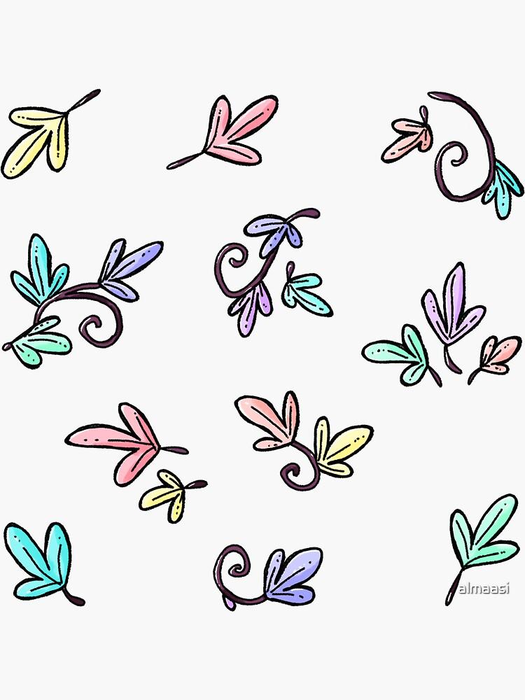 Leaf vines sticker set {pastel rainbow} by almaasi