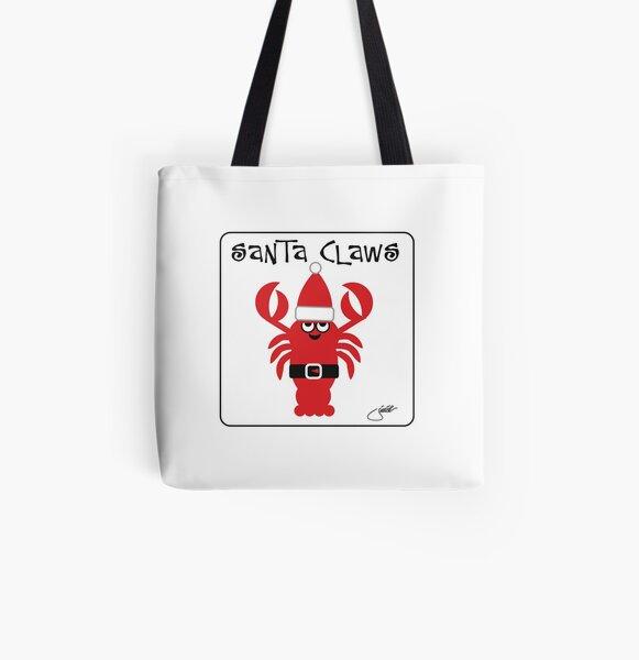 Santa Claws Lobster Humorous Holiday Design Beach Keen Fun  Playful Beach Coastal Nautical Theme All Over Print Tote Bag