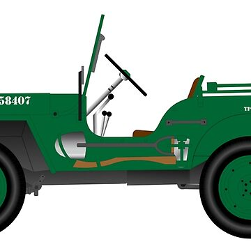 JEEP WILLYS, WW2, drawing, illustration by TOMSREDBUBBLE