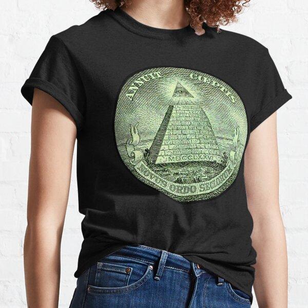 Eye of Providence, America, USA, Mystic, Dollar, Bill, Money, Freemasonry, All Seeing Eye, Pyramid, Masonic. Classic T-Shirt