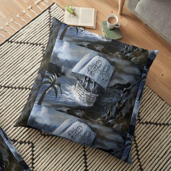 Ship at sea Floor Pillow