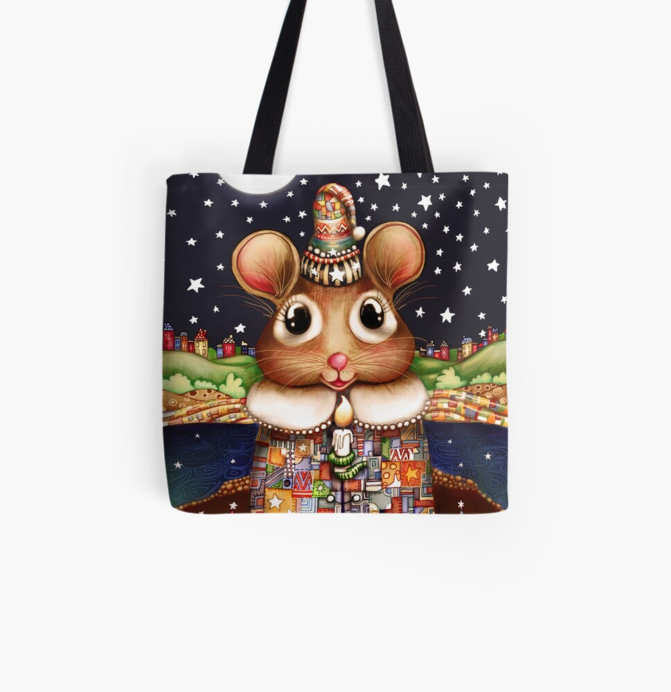 Little Bright Eyes the Radiant Christmas Mouse All Over Print Tote Bag