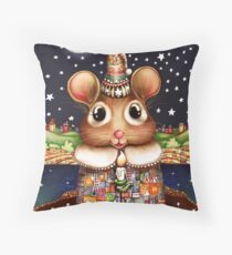 Little Bright Eyes the Radiant Christmas Mouse Throw Pillow