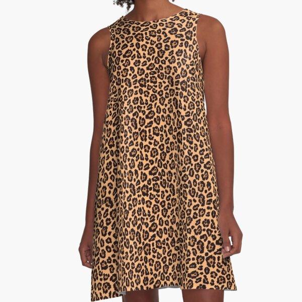 Leopard Print Trapeze Dress A-Line Dress