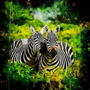 gxp african zebra horses splatter watercolor by gxp-design